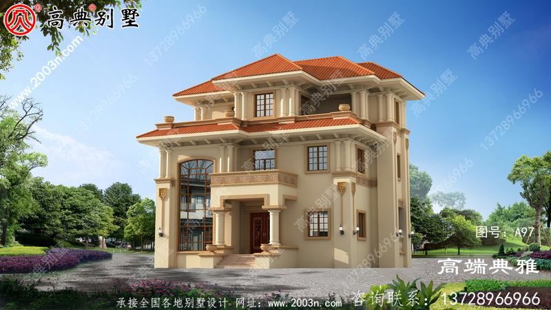 占地102平方米的农村自建三层的别墅设计效果图