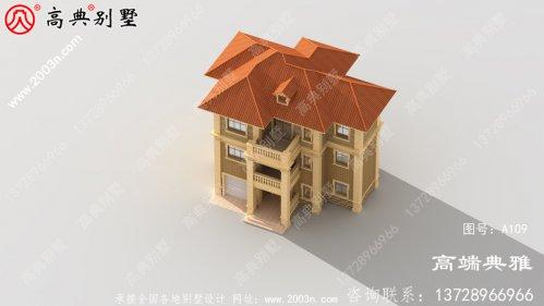 欧式三层别墅建筑设计图,带车库设计和配露台