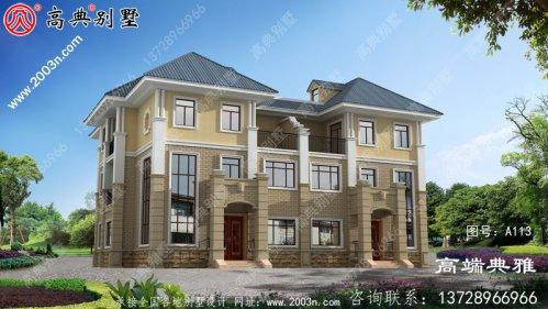 三层双拼别墅自建房设计图,欧式