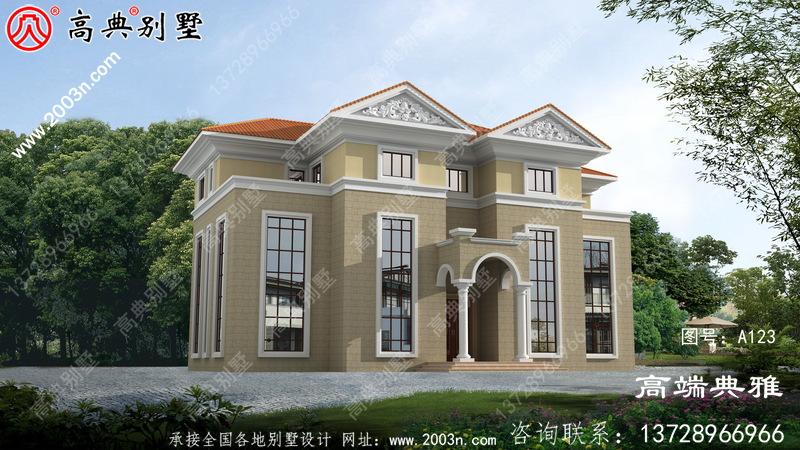 三层豪华欧式别墅复式高端自建设计图纸及效果图。