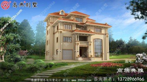 豪华欧式大户型四层别墅设计图纸胶带效果图,