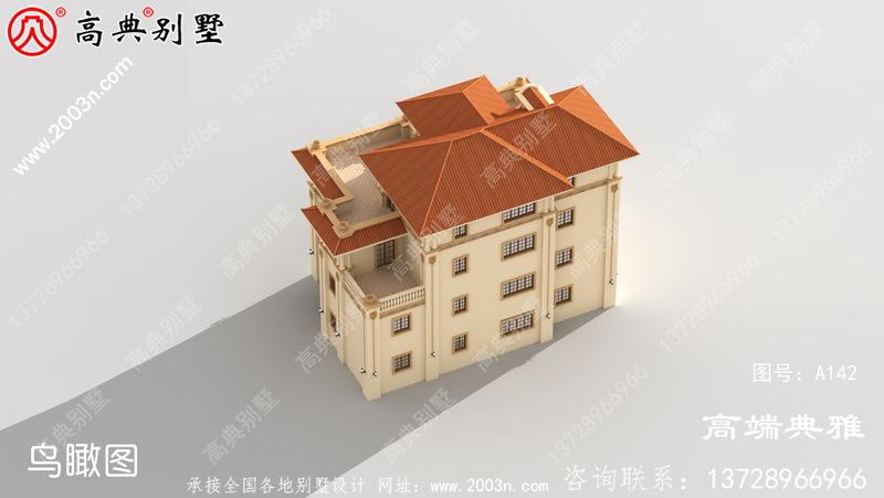 豪华欧式大户型四层别墅设计图纸胶带效果图,占地242平