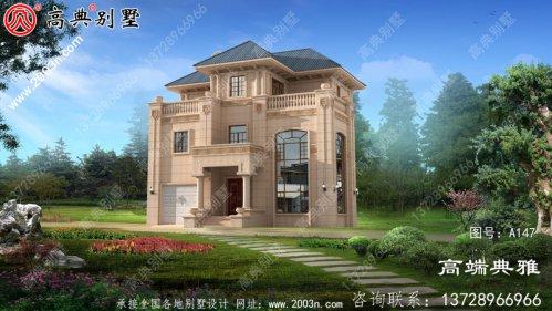 欧式三层别墅效果效果图,带复式设计和配车库