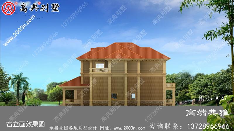 大户型欧式农村三层住宅设计与建筑制图及效果图