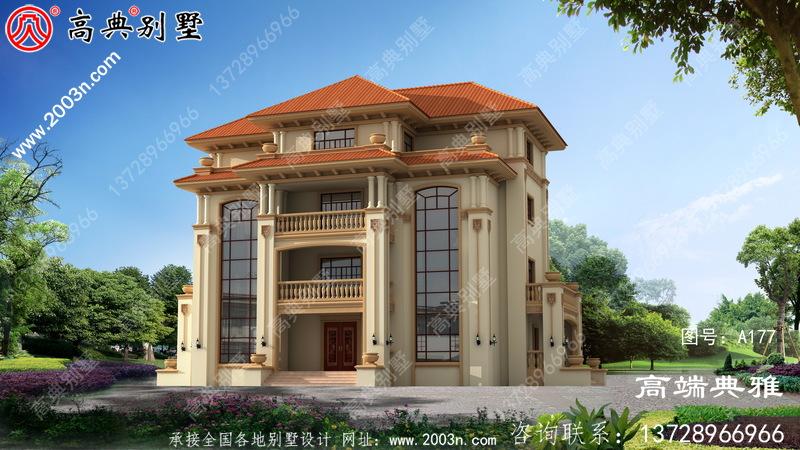 欧式三层别墅效果图,附施工图别墅设计图一套