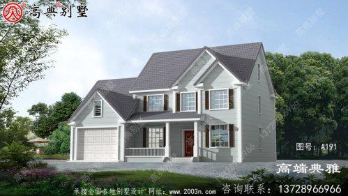 美式二层乡村房屋设计图纸,带设计效果图和整