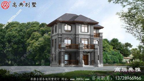 中式三层别墅设计效果图和施工方案图