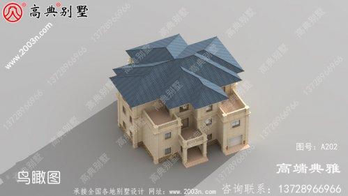 欧式三层把别墅建筑设计效果图,客厅复式结构