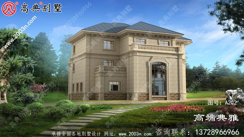 欧式三层把别墅建筑设计效果图,客厅复式结构。