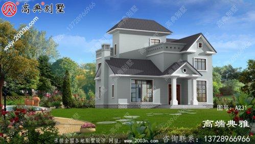 在乡村50万内建的美式三层别墅样式,飘窗设计