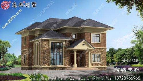 带复式设计的欧式实用乡村两层别墅图
