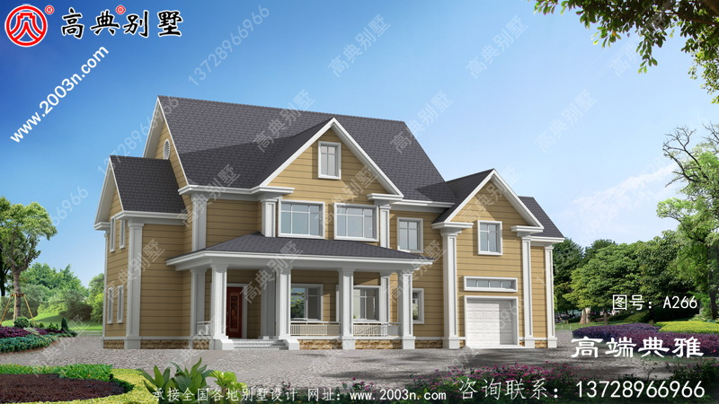 二层美式带停车位农村小别墅,既舒服又美观大方