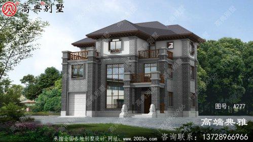 三楼中式豪华别墅设计方案,占地196平