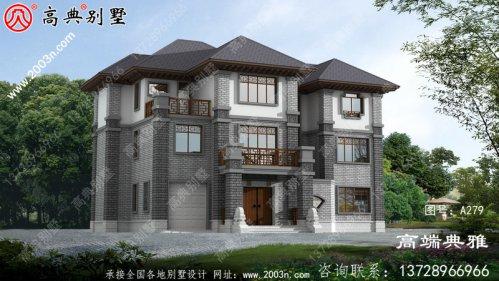 大气精致的中式三层别墅设计图,外观效果图优