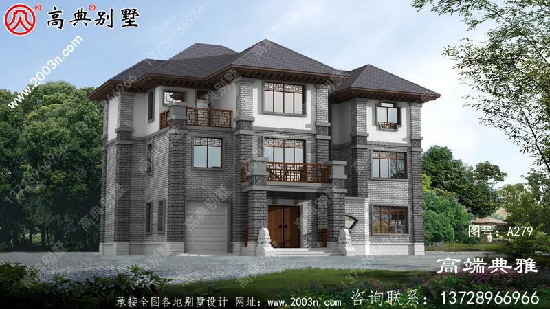 大气精致的中式三层别墅设计图,外观效果图优美