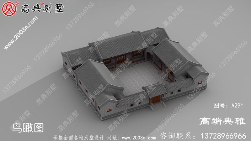 农村自建一幅很漂亮的四合院风格的单层楼图