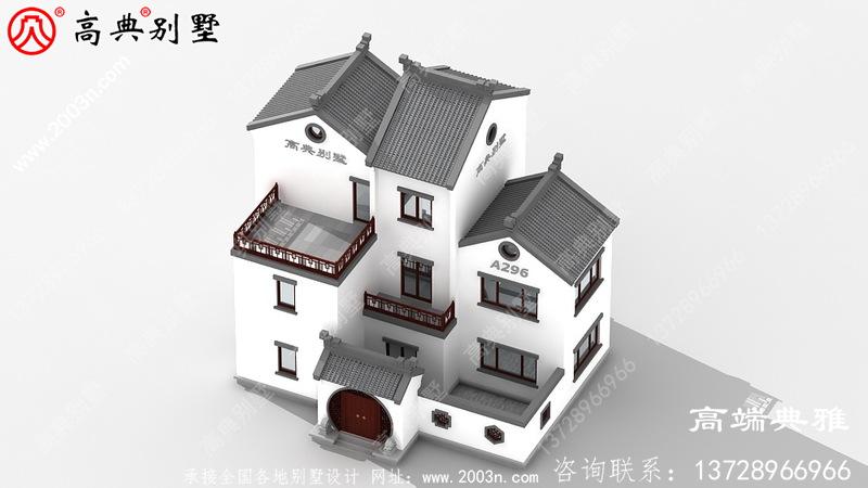 新中式三层别墅设计图,外观精致布局也是相当的朴实