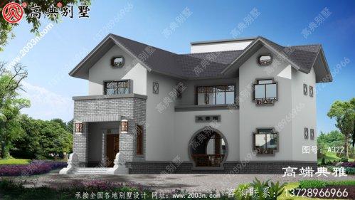 143平面图中式两层农村楼房设计图