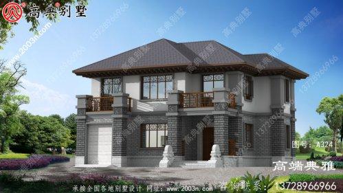中式两层乡村建筑设计及效果图,占地165平