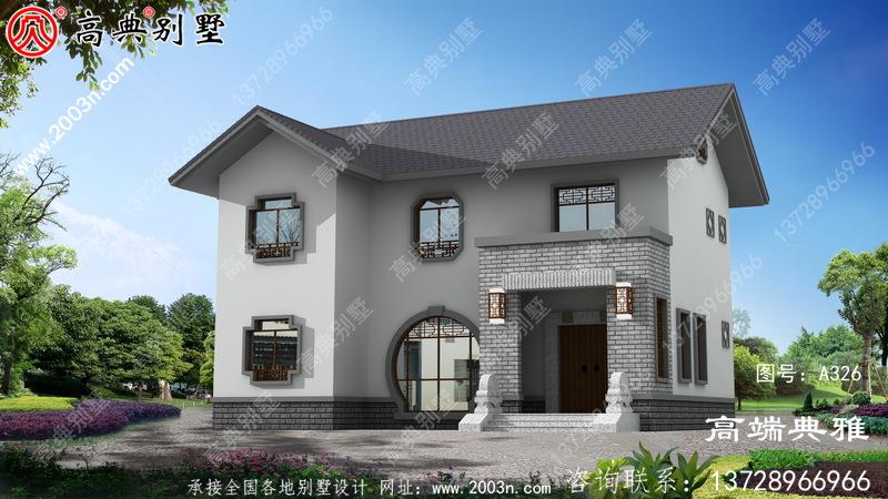 新中式两层别墅设计方案,占地约118平方米
