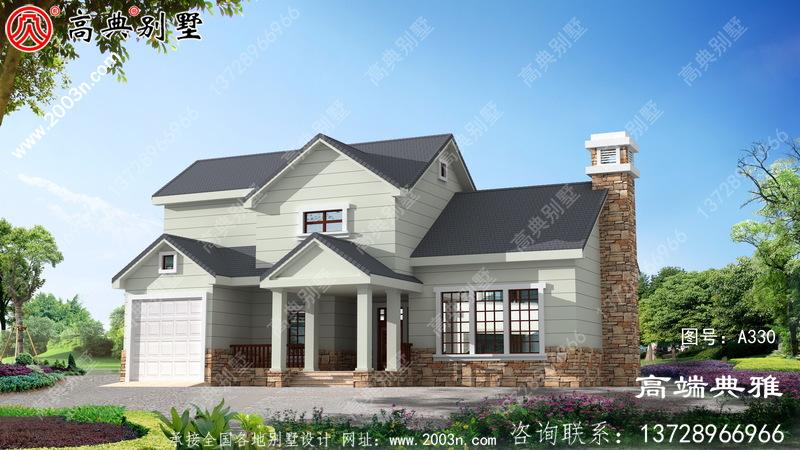 美式二楼别墅设计图平面图带车库