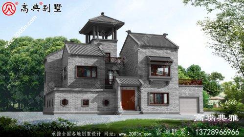 豪华大气的中式两层乡村住宅设计,对称的主体