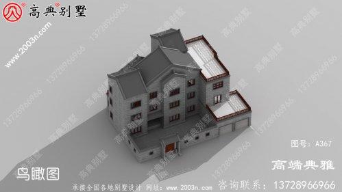 带院子的中式三层别墅配露台设计外观效果图