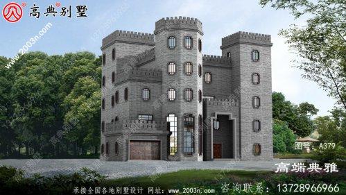城堡中式自建房设计图,占地面积408平方米