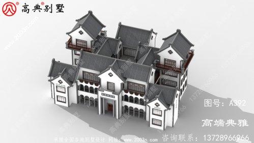 大户型自建中式别墅设计外观效果图,占地579平