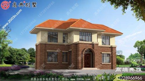 简欧二层别墅外观设计图方案,施工简单造价低