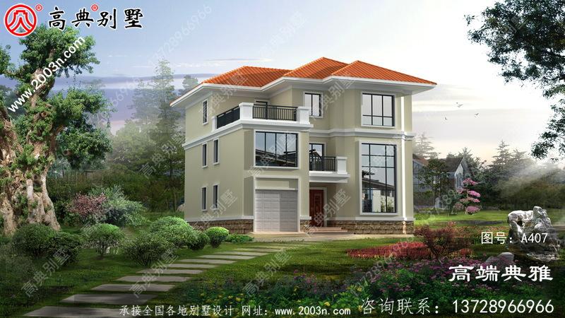欧式带阳台三层别墅外观设计设计效果图,大客厅空心