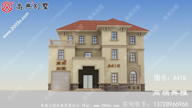 简欧三层别墅设计外观效果图带车库,造价低
