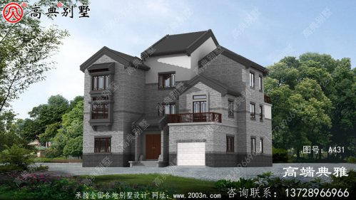 三层乡村自建中式别墅,带车库