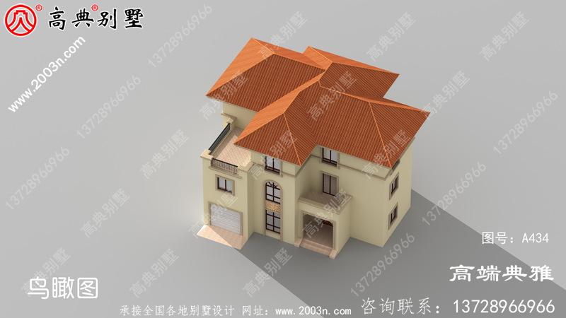 乡村三层欧式别墅设计照片及设计图纸,外型高档大气