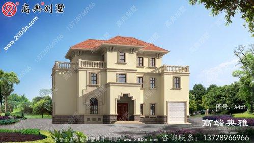 192平欧式三层别墅带阳台外观设计