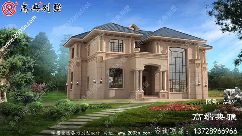两层精致奢华欧式石材别墅外观设计图,带复式落地窗