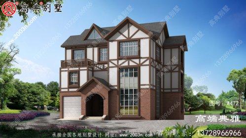 占地152平的美式三层别墅外观设计效果图,包括