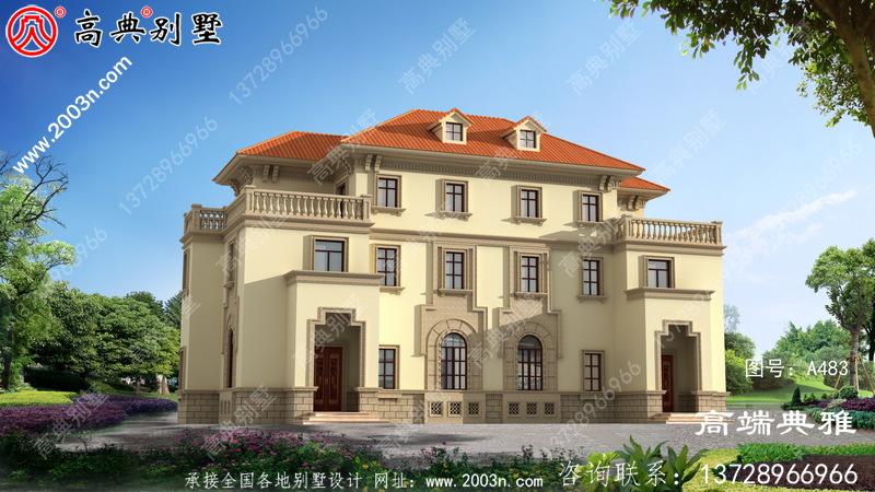 欧式两层双拼农村住宅设计图纸和图片高端大气。