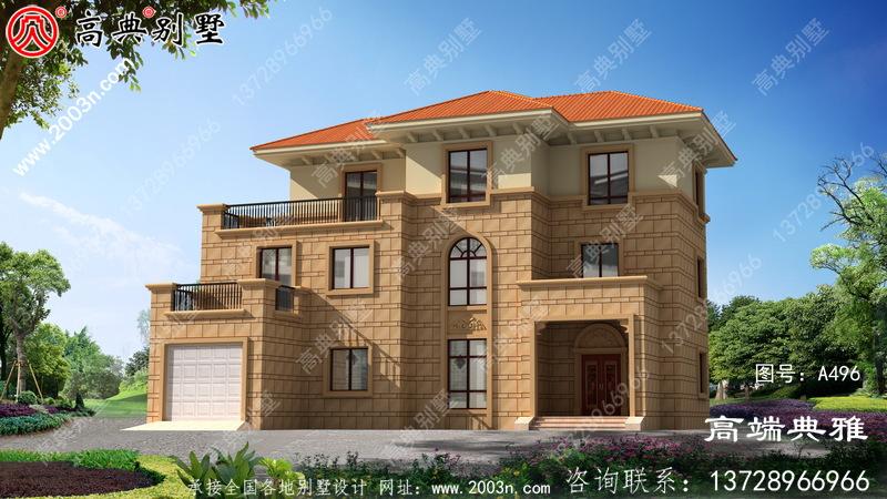 农村三层豪华住宅的设计图和外观图,以及经典的户型方案。