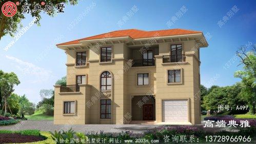 农村三层豪宅的设计图和外观照片,典型户型方