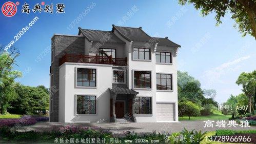 农村中式三层别墅建设设计图带车库