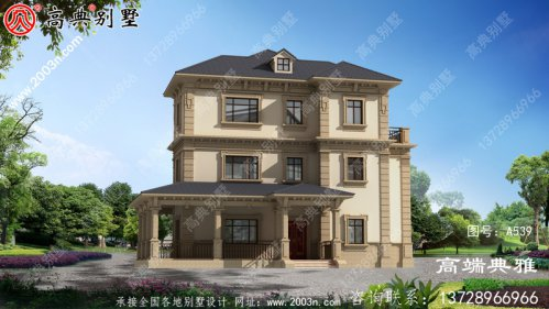 豪华三层别墅设计图纸,宅地176平带露台