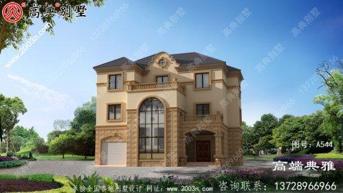 欧式三层别墅设计图,全套CAD建筑图+效果图