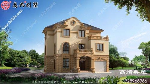 142平米欧式古典三层别墅建筑设计图纸,带车库
