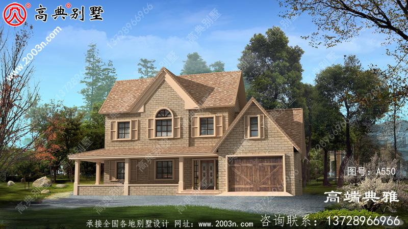 174平方米欧式两层别墅建筑设计图纸带车库