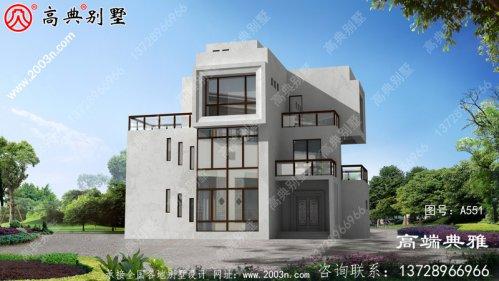 复式设计三层现代别墅,简洁时尚