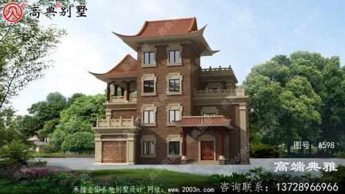 农村自建中式三层别墅设计效果图,暖色系复古