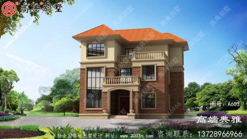 乡村三层楼房设计图,带阳台,占