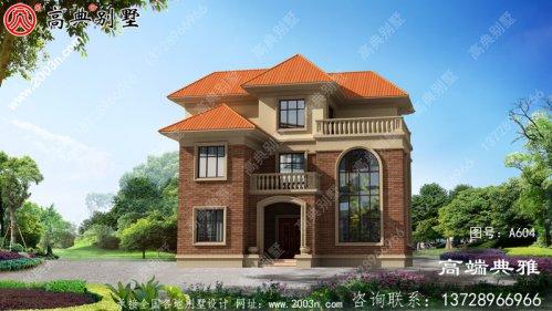 带阳台的农村三层建筑别墅,占地137平方米