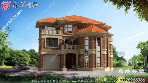 欧式三层住宅的设计图,带车库,占地面积181平